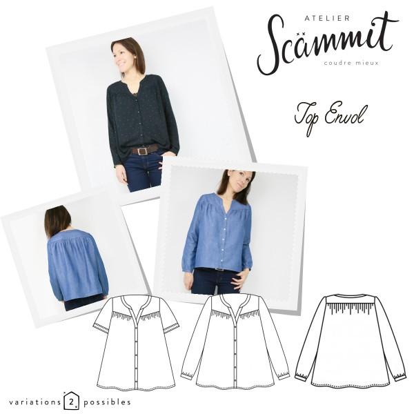 Patron couture Atelier Scammit - Blouse Envol - Taille 34 à 48 - Photo n°1