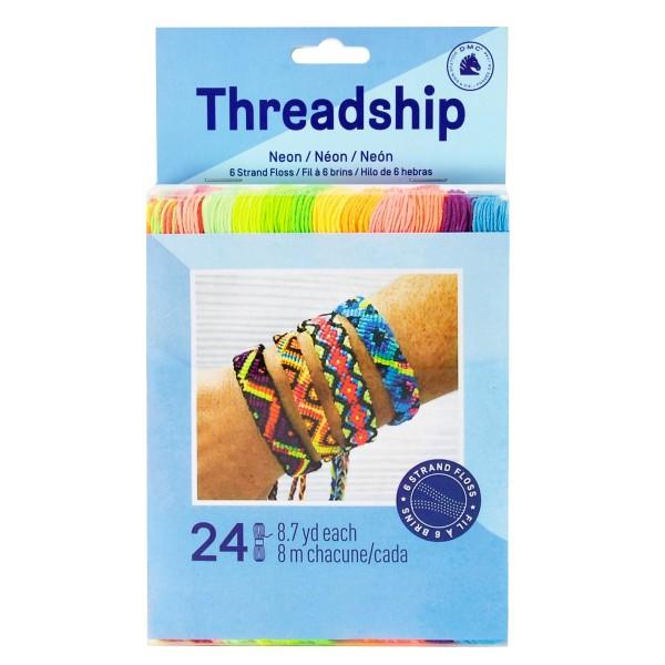 Pack de fils coton Bracelet brésilien - Néon - 24 pcs - Photo n°1