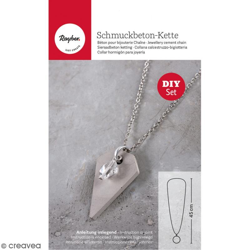 Kit béton pour bijou chaîne - Perle - 45 cm - Photo n°1