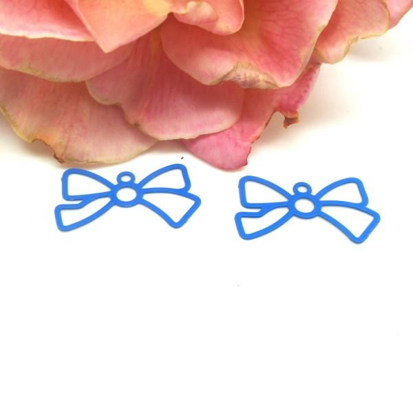 4 Connecteurs Fins Nœuds Bleu Outremer , Connecteur Métal, 19*10 mm - Photo n°1