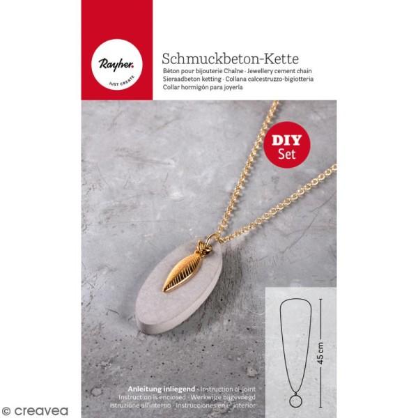 Kit béton pour bijou chaîne - Feuille - 45 cm - Photo n°1