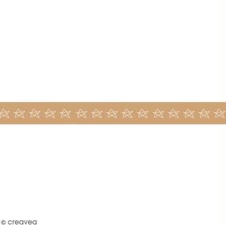 Washi tape Etoiles sur fond camel - 15 mm x 15 m