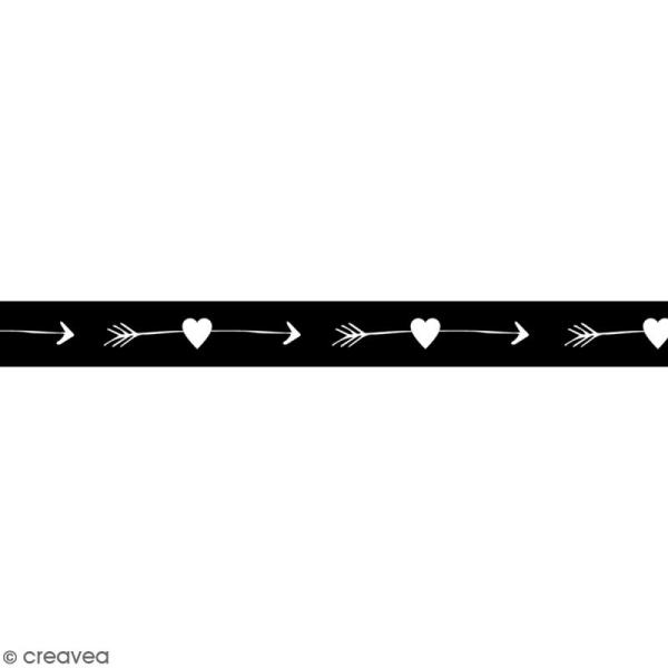Masking tape en papier washi - Motif Flèches d'amour - 1,5 cm x 15 m - Photo n°1