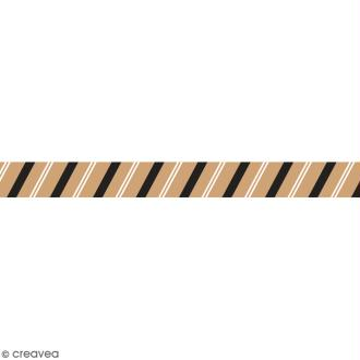 Washi tape Rayures sur fond camel - 15 mm x 15 m