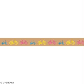 Washi tape Bicyclettes sur fond camel - 15 mm x 15 m