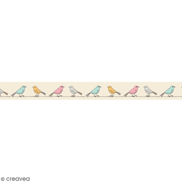 Masking tape en papier washi - Motif Moineaux - Photo n°1