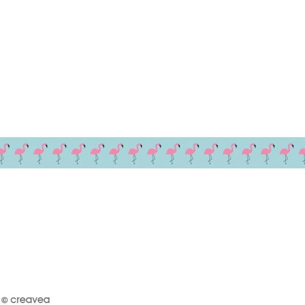 Masking tape en papier washi - Motif Flamants roses - Photo n°1