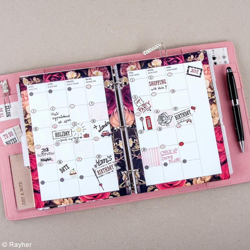 Planner A5 à personnaliser - Noir et fleurs - Photo n°3