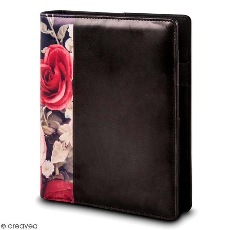 Planner A5 à personnaliser - Noir et fleurs - Photo n°1