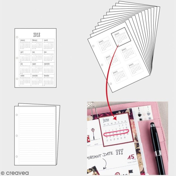 Kit pages My planner mensuel A5- Année 2018 - Photo n°2
