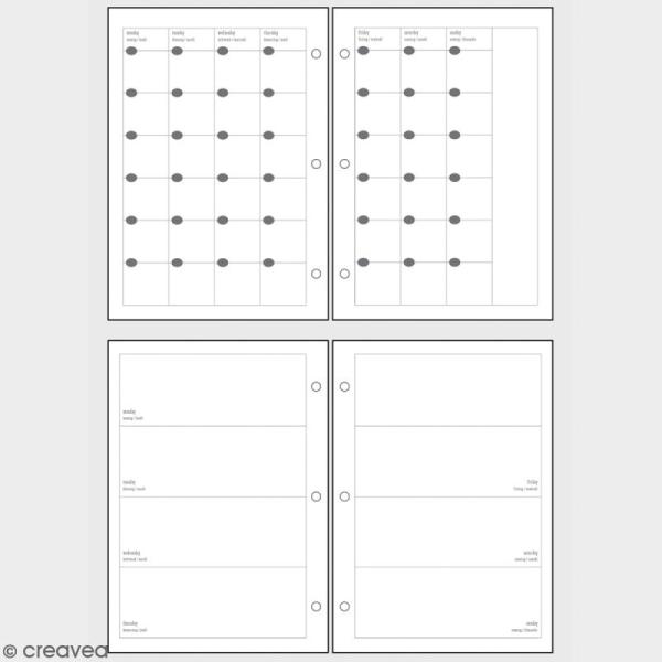 Kit pages My planner Aperçu mensuel et hebdomadaire A5 non datés - Photo n°2
