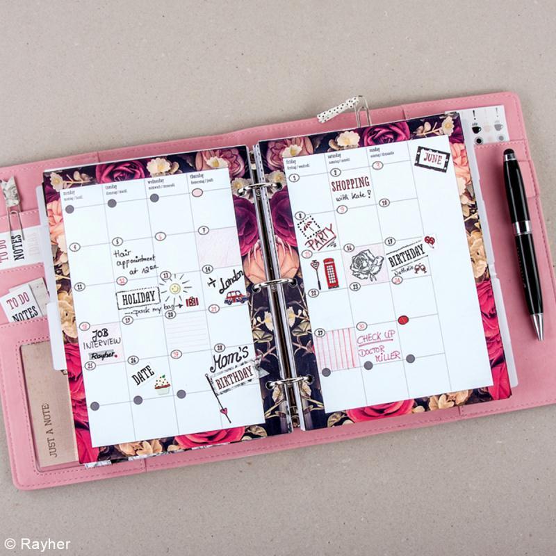 Kit pages My planner Aperçu mensuel et hebdomadaire A5 non datés - 10 motifs différents - Photo n°4