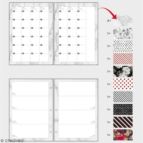 Kit pages My planner Aperçu mensuel et hebdomadaire A5 non datés - 10 motifs différents - Photo n°2