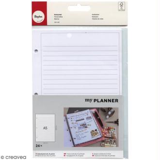 Kit pages My planner - pages A5 perforées imprimées lignes - 24 pcs