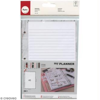 Kit pages My planner - pages A5 perforées imprimées lignes - 8 motifs - 24 pcs