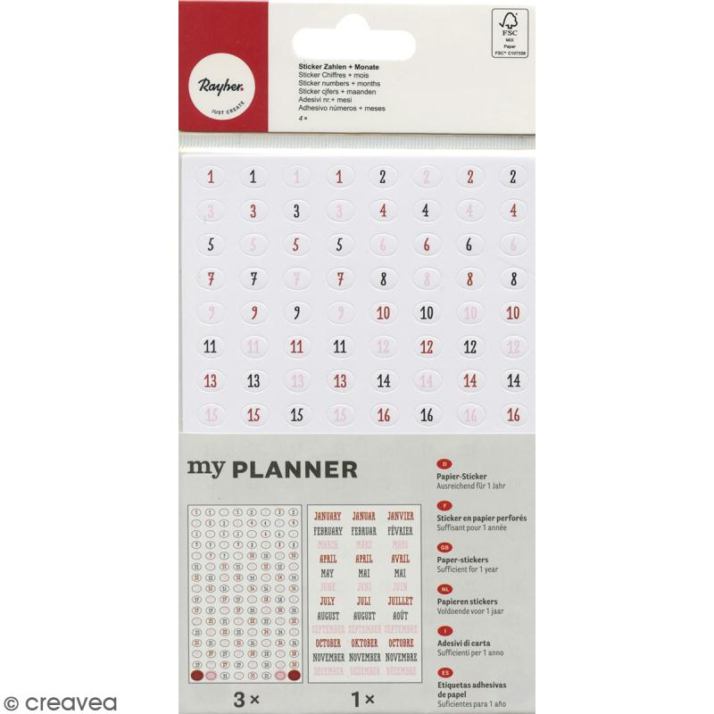 Stickers chiffres et mois My planner - Photo n°1