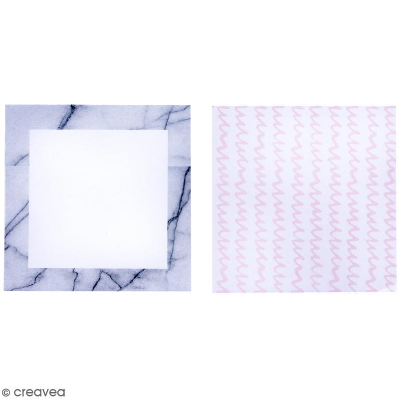 Set de Mémos adhésifs - Marbre et lignes roses - 2 blocs - Photo n°2