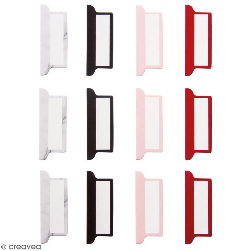 Set d'onglets adhésifs - Marbre, noir, rouge et rose - 12 pcs - Photo n°1