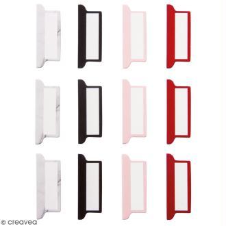 Set d'onglets adhésifs - Marbre, noir, rouge et rose - 12 pcs