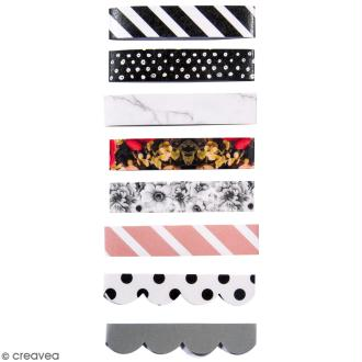 Set de rubans décoratifs - Argent, rose, noir et blanc - 8 pcs