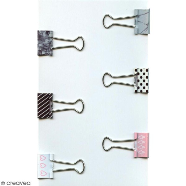 Set de pinces double clip à dessin - Rose, noires et blanches - 1,9 cm - 6 pcs - Photo n°1