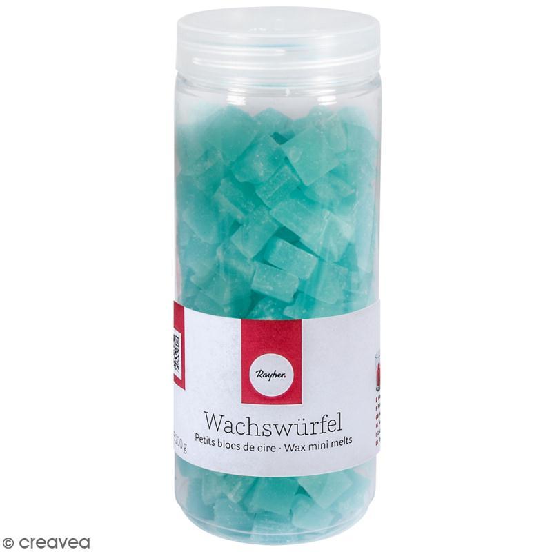 Petits blocs de cire bougie turquoise 200 g cire bougie creavea - Acheter cire de bougie ...