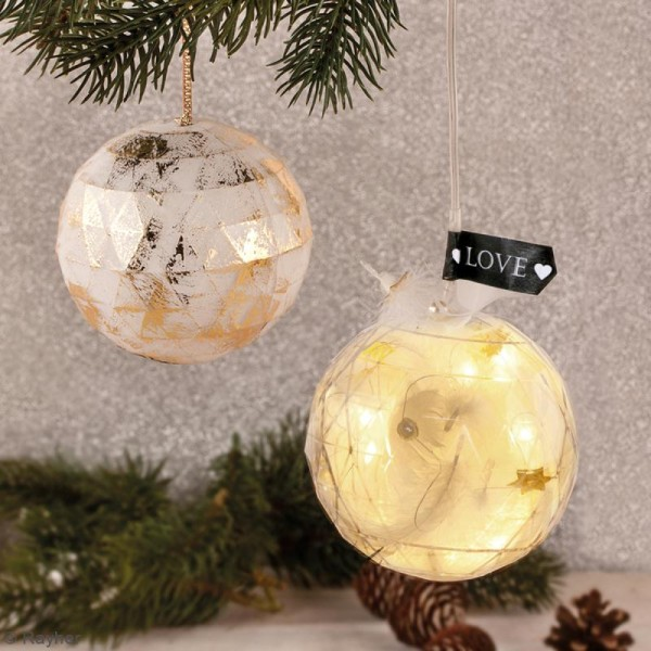 Boule plastique transparente Noël - facettée - 8 cm - 1 pce - Photo n°2