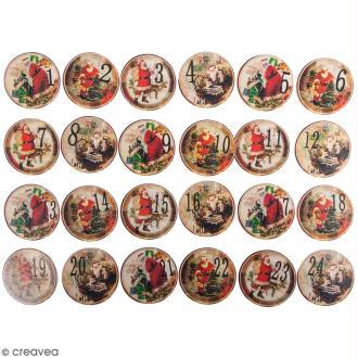 Pinces à linge calendrier de l'avent - Père Noël - 3,5 cm - 24 pcs