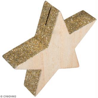 Support cartes en bois - Etoiles avec paillettes - 10,5 cm - 2 pcs