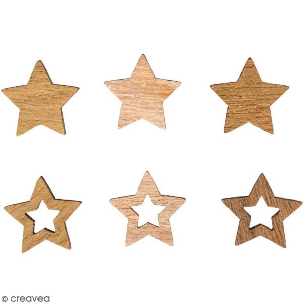 Miniatures en bois - Etoiles - 2 cm - 24 pcs - Photo n°1