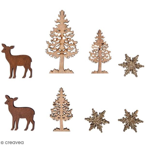 Miniatures en bois - Forêt d'hiver - 2 à 6 cm - 8 pcs - Photo n°1