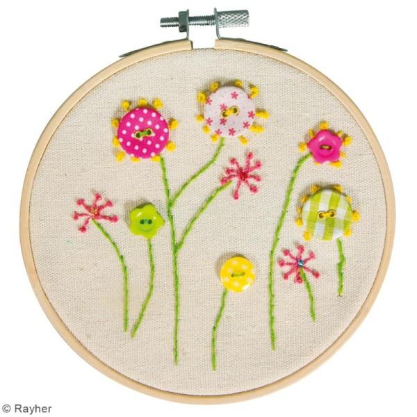 Kit broderie , Fleurs , 13 cm