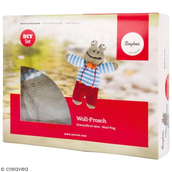 Kit tricot - Grenouille en laine - 15,5 cm - Photo n°1
