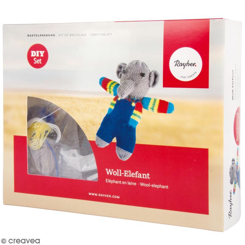 Kit tricot - Elephant en laine - 15 cm - Photo n°1