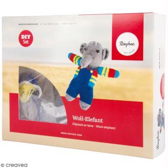 Kit tricot - Elephant en laine - 15 cm