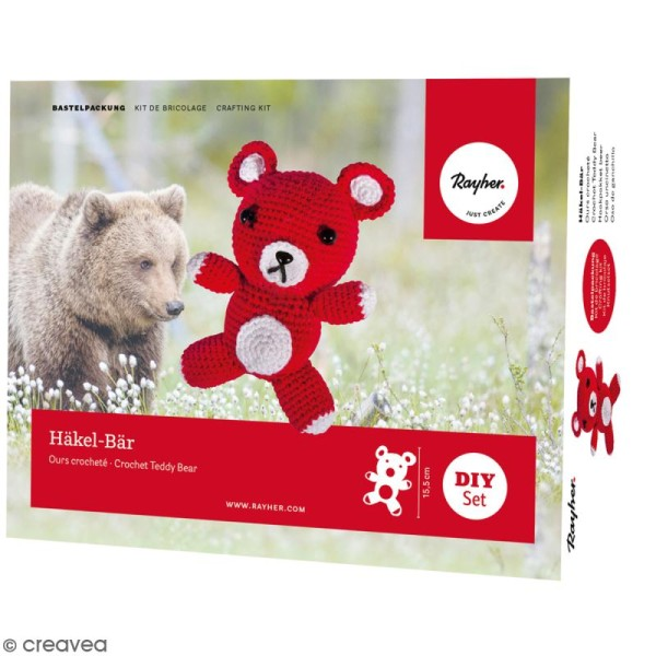 Kit crochet - Petit ours - Rouge - Photo n°1