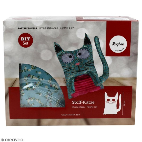 Kit couture - Chat en tissu - 28 cm - Photo n°1