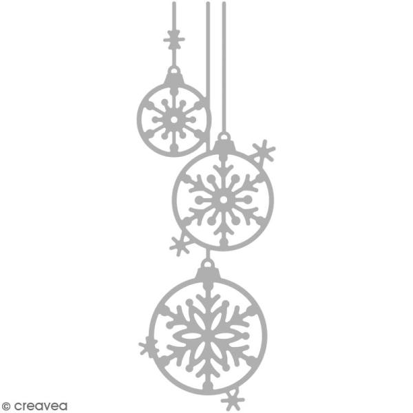 Matrice de découpe 3 boules de Noël  - 4 x 12,5 cm - Photo n°1