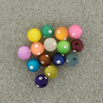 Assortiment perles polaris rondes à strass - 8 mm x 15 pcs
