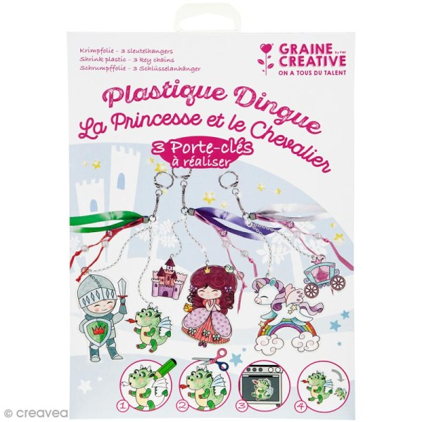 Kit plastique dingue - La princesse et le chevalier - 3 portes-clés - Photo n°1