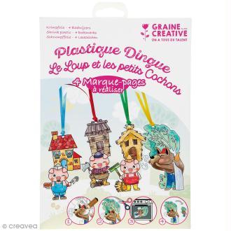 Kit plastique dingue - Le loup et les petits cochons - 4 marque-pages