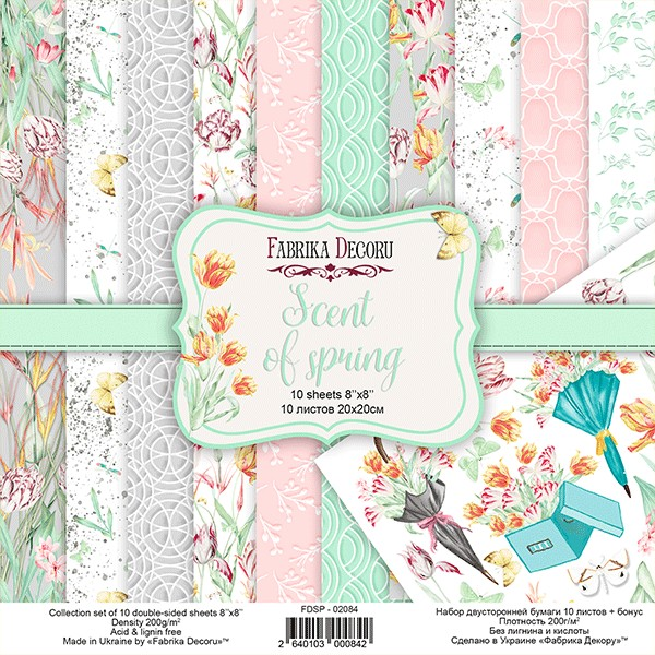 10 papiers scrapbooking 20 x 20 cm FABRIKA DECORU SCENT OF SPRING - Photo n°1