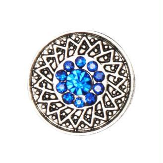 Bouton pression à clipser Clixy Siam strass bleu 20 mm