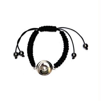 Bracelet Shamballa à bouton pression Clixy - Noir (bouton à clipser)