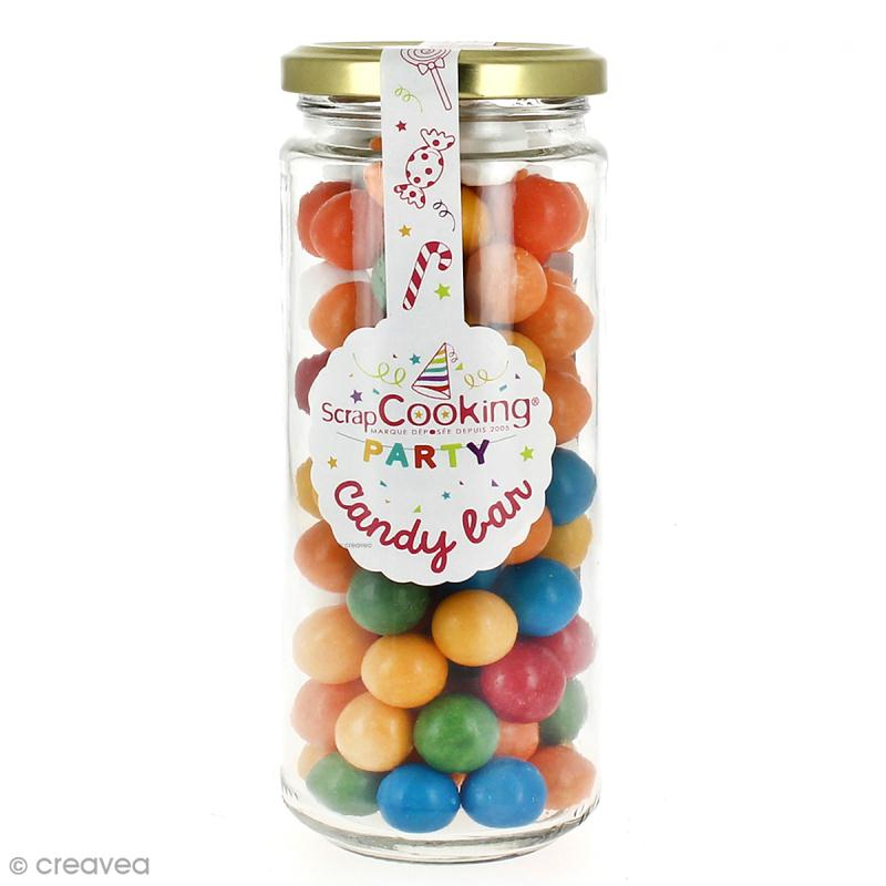 pot en verre candy bar scrapcooking boules de bubble gum bonbon creavea. Black Bedroom Furniture Sets. Home Design Ideas