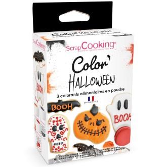 Colorant alimentaire artificiel en poudre - Halloween - 3 x 5g - Orange Noir Rouge