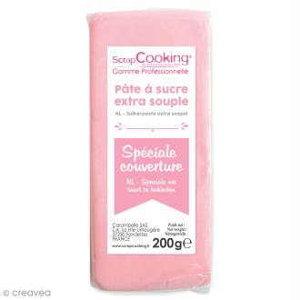 Pâte à sucre extra-souple Rose 200 g - spéciale couverture