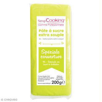 Pâte à sucre extra-souple Vert citron 200 g - spéciale couverture