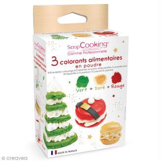 Colorant alimentaire artificiel en poudre -Noël - 3 x 5g - Rouge Vert Doré