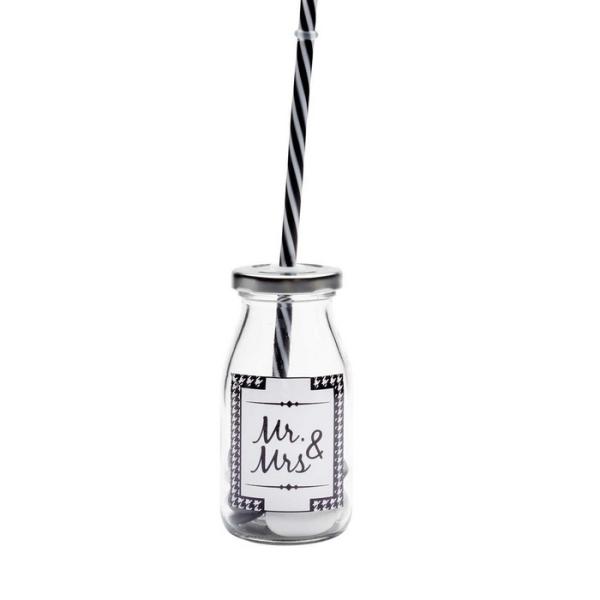 Mini bouteille rétro avec couvercle et paille Ht12cm - Photo n°1
